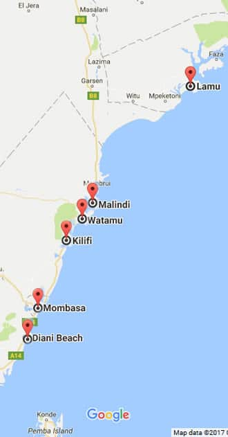 Map-of-Kenyan-Coast-Mombasa - Hotels in Mombasa